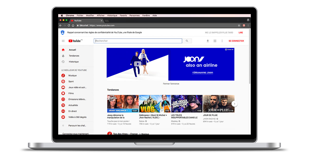 JOON - masthead Youtube UI design